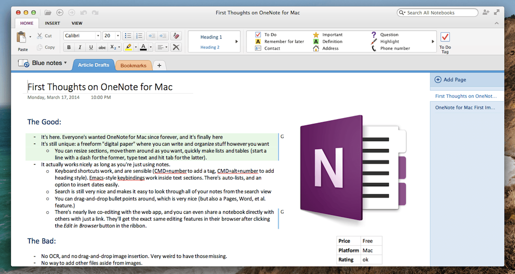 can you use onenote on a mac