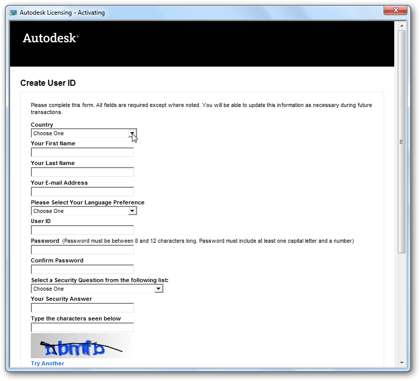 2010: Product keys for Autodesk products Download