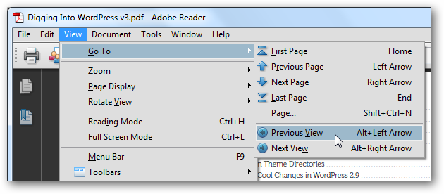 Jump Back and Forth in a PDF in Adobe Reader | Techinch