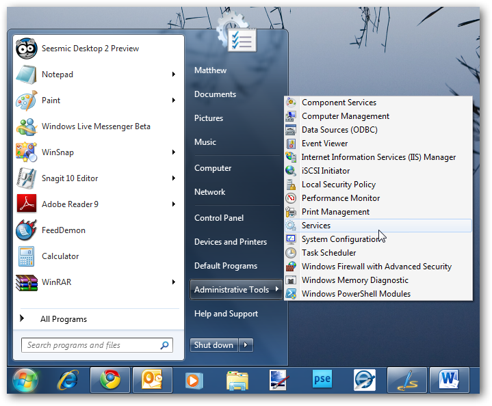 how to add administrative tools to windows 7